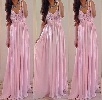 dress pink maxi long dress lace flowy summer trendy cute feminine spring rose wholesale-jan