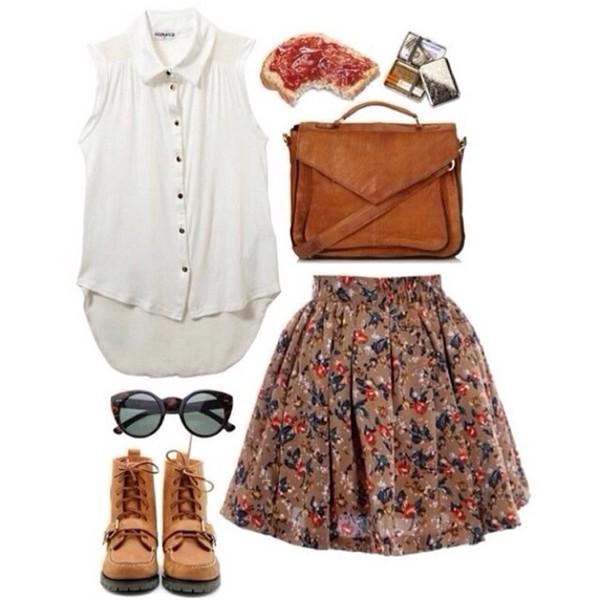 blouse bag shoes skirt