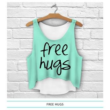 fullprint crop tops women fresh top 2015 new print free hugs daddy