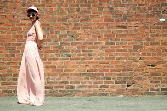 let's get flashy blogger pink hat braid short hair pink top pink sunglasses all pink everything