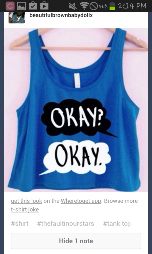 shirt blue the fault in our stars the fault in our stars the fault in our stars clouds tank top crop tops