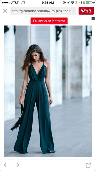 jumpsuit dress romper clothes forest green green palazzo jumpsuit green jumpsuit classy bag black bag clutch clubwear emerald green silk pinterest wide leg sexy sexy outfit party outfits summer outfits spring outfits fall outfits elegant cute girly date outfit pool party holiday season romantic homecoming straps asos formal dress brunette long jumpsuit emerald green dress teal jumpsuit teal