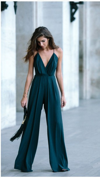 jumpsuit dress romper clothes forest green green palazzo jumpsuit green jumpsuit classy bag black bag clutch clubwear teal elegant teal jumpsuit pinterest for engagement party wedding outfit perfectoutfit wide plunge neckline v neck straps wedding guest spaghetti strap fall outfits pleated emerald green jumpsuit emerald green formal dresses blue silk flowy