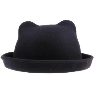 Amazon.com: Gem 57cm Head Circumference Unique Vintage Punk Fashion Lovely Cute Derby Wool Winter & Autumn Kitty Cat Ears Hat Cloche Costume Party Christmas Cap Bowler (#1 Black): Sports & Outdoors