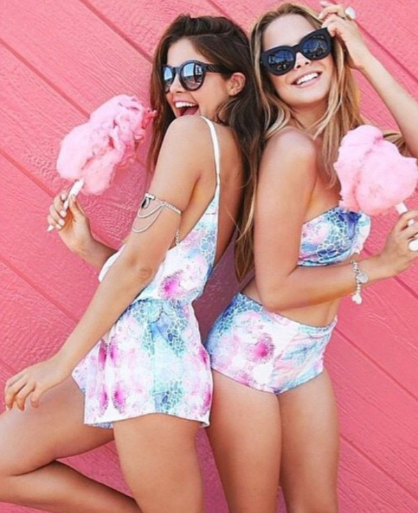 romper swimwear jumpsuit blue pink shirt shorts tank top nice clothes white flowers