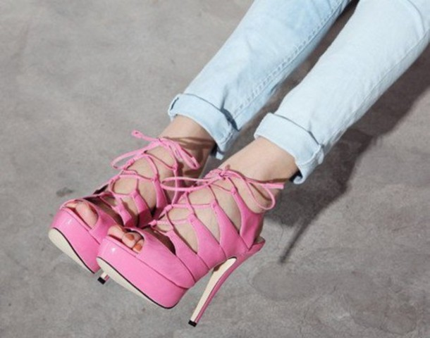 shoes heels pink lace high heels heel sandals summer shoes pink heels cute flawless adorbs strappy heels
