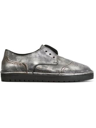 horse women leather grey metallic shoes