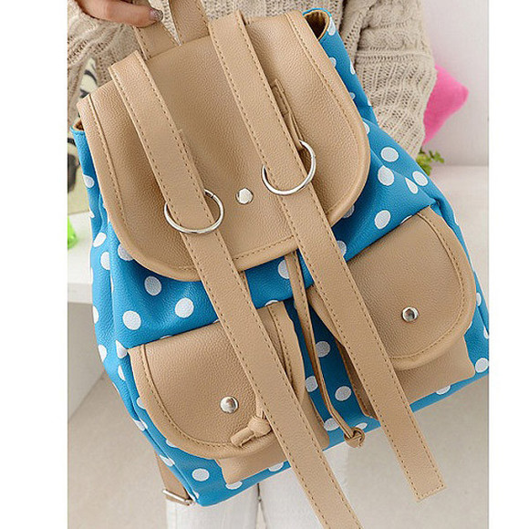 polka dot bag backpack double pockets banggood
