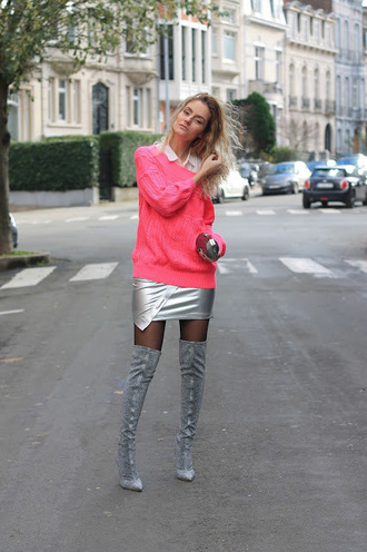 from brussels with love blogger sweater skirt shoes bag tights boots over the knee boots pink sweater metallic skirt clutch