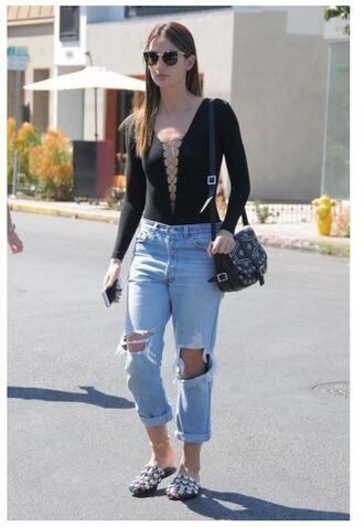jeans top lace up lily aldridge spring outfits black bodysuit