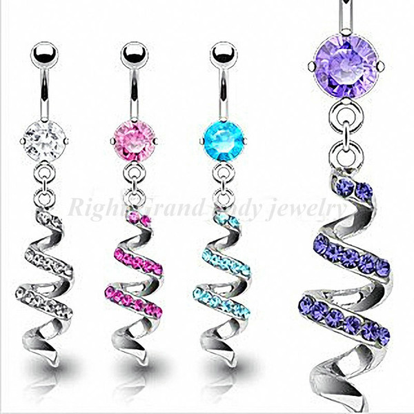 jewels pink blue purple belly button ring
