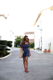 b a r t a b a c,blogger,dress,shoes,bag,sunglasses,jewels,blue dress,ruffle dress,ruffle,off the shoulder dress,off the shoulder,summer outfits,summer dress,hun,basket bag,straw bag,beach bag,beige bag,sandals,aquazzura,Aquazzura sandals,mini dress,short dress,bardot dress