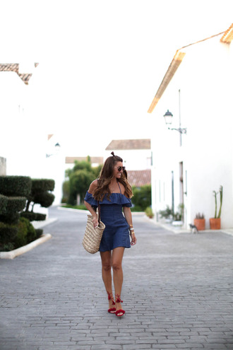 b a r t a b a c blogger dress shoes bag sunglasses jewels blue dress ruffle dress ruffle off the shoulder dress off the shoulder summer outfits summer dress hun basket bag straw bag beach bag beige bag sandals aquazzura aquazzura sandals mini dress short dress bardot dress