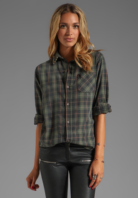 CURRENT/ELLIOTT The Prep School Shirt in Forge Plaid w/ Studs - Current/Elliott