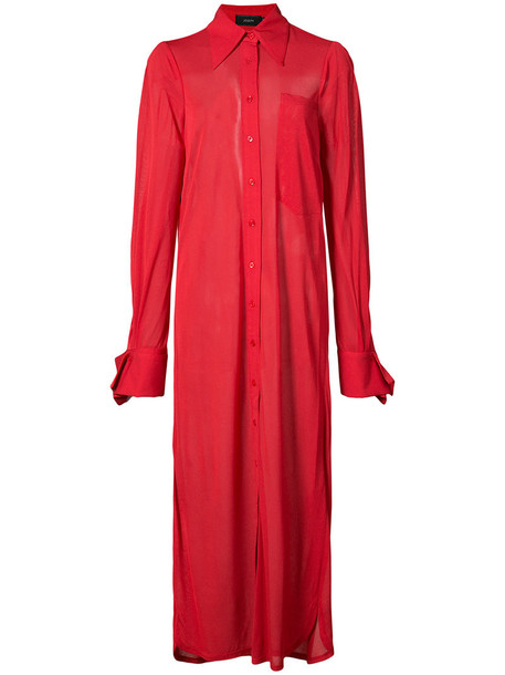 Joseph dress shirt dress long women red