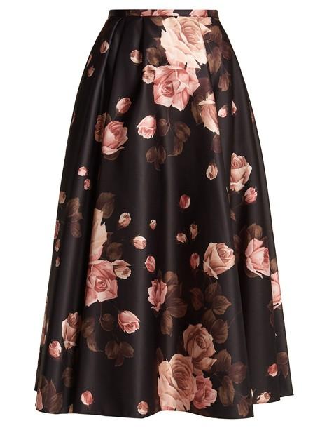 Rochas skirt midi skirt rose midi print satin black