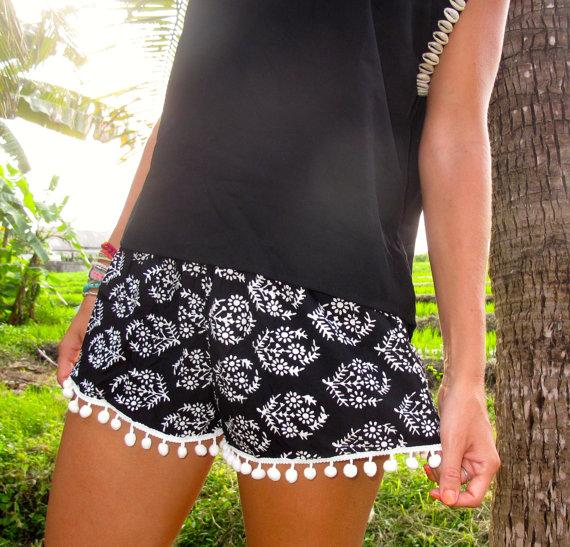 Pom pom shorts  black and white thyme pattern  by ljcdesignss