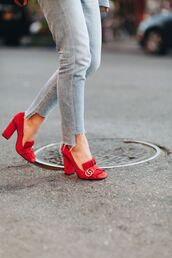 shoes,tumblr,high heels,red heels,gucci,gucci shoes,jeans,grey jeans,pilgrim shoes,high heel loafers,red loafers