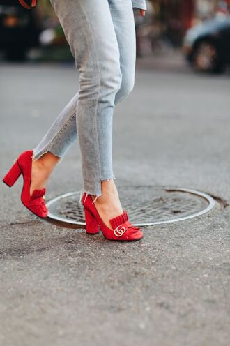 shoes tumblr high heels red heels gucci gucci shoes jeans grey jeans