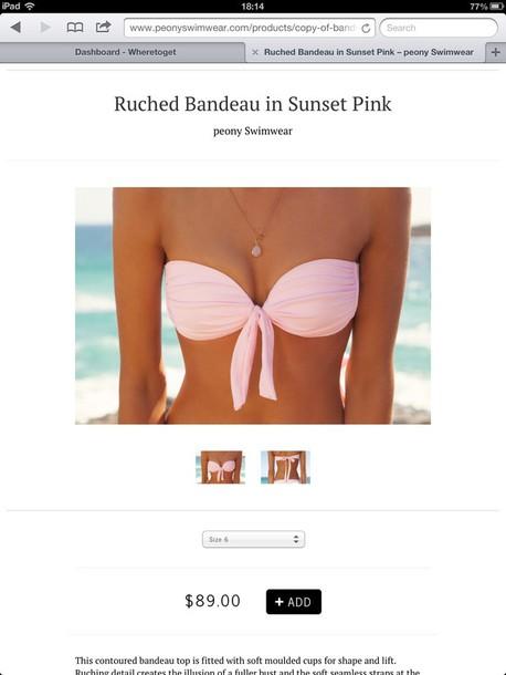 swimwear pink bikini cute hipster bandeau summer
