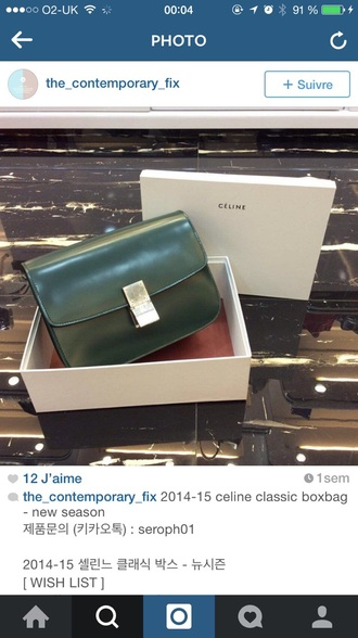 bag celine box clutch green style fashion love dark