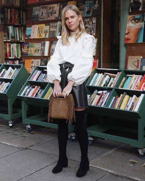 skirt tumblr mini skirt leather skirt black leather skirt boots black boots over the knee boots over the knee bag brown bag white blouse blouse