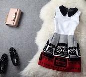 dress,red,white