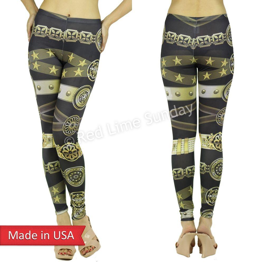 New Women Sexy Fashion Gold Belt Jewerly Print Stylish Leggings Tights Pants USA