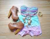 tank top,clothes,corset top,pastel,beautiful,bra top,bustier,shorts,shoes,dip dyed,studs,jeffrey campbell,aztec,shirt,perfection,perfect combination,high heels,light blue,baby blue,High waisted shorts,cut off shorts,denim shorts,pink,top,crop tops,girly,vintage,mixed colors,multicolor,colorful,light colors,bright,aztec neon pastel cute,t-shirt,necklace,bracelets,sexy and i know it,jewels,help!! me,blouse,dip dye shorts,colorful patterns,frayed shorts,studded shorts,dreamcatcher necklace,jewelry,boots,dreamcatcher,ombre,jeans,carolina blue,running shoes,workout shoes,women's nike,hipster,cool,cute,rock,blue,stars,good,sweetie,fine,nice,sexy shorts,summer top,lita shoes,blue shirt,high waisted denim shorts,tribal pattern,short