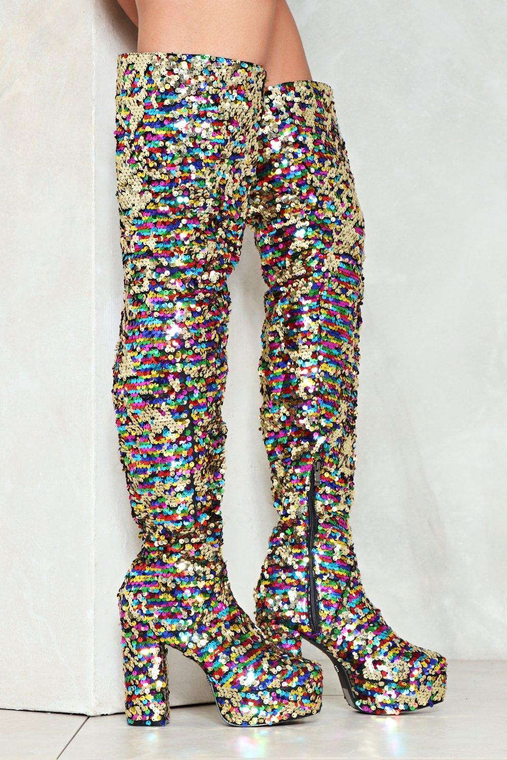 Fabulous Sequin of Events Thigh-High Boot | Shop Clothes at Nasty Gal!