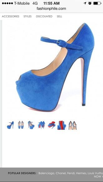 shoes light blue suede open toe christian louboutin