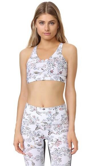 bra sports bra white print underwear