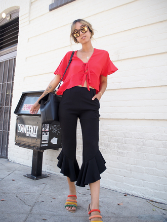 top tumblr red top crop tops asos pants kick flare black pants sandals flat sandals sunglasses shoes