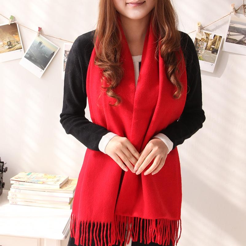 Fringed cashmere scarf, red , one size
