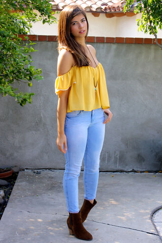top boots crop tops yellow top lace crochet crop top crochet jeans style fashion coachella bohemian boho outfit spring outfits spring summer outfits summer top