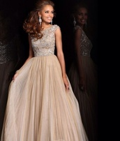 dress,prom dress,cream dress,sherri hill,long dress,peach prom dress,long prom dress,nude dress