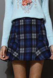 skirt,blue,tartan,wool felt,frill hem