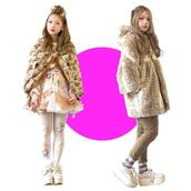coat,fawn fur,brown,white,pink,long,fawn,fur,wedges,kitchie,kawaii,japanese,asian,platform shoes