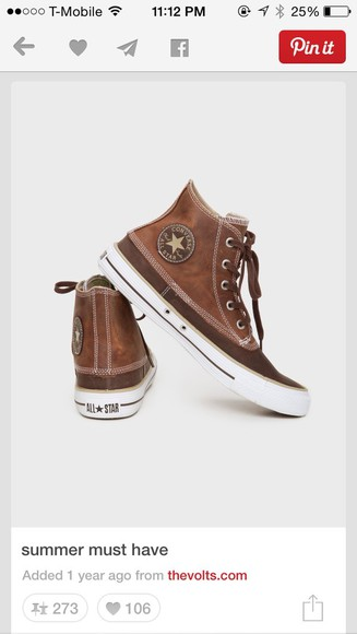 shoes converse chuck taylor's brown shoes leather vintage