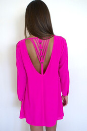 strap back dress,hot pink,hot pink mini,mini dress,scoop neck,flare,georgette dress,asymmetrical dress,sheer sleeves,cut out sleeves,on trend,www.ustrendy.com