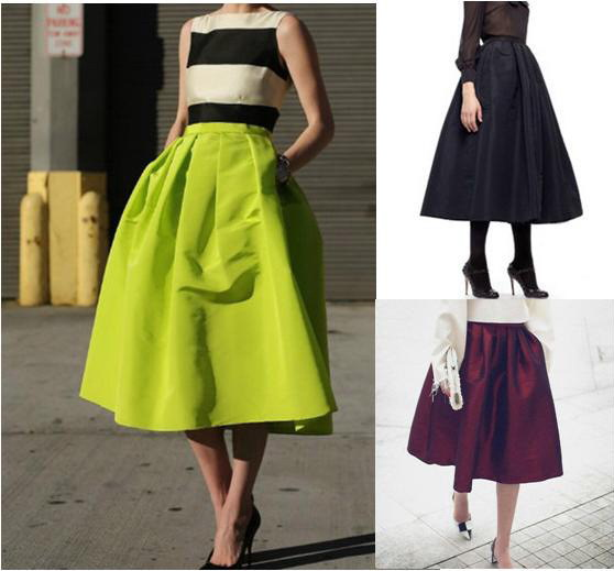 High Waist women long Puff skirts american apparel neon Green Midi ...