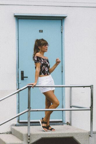 top floral top shorts tumblr off the shoulder off the shoulder top floral white shorts sandals flat sandals shoes