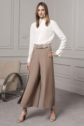 pants,white silk blouse,leather belt,tailoring,nude pants,nude trousers,flared trousers,ralph lauren,white blouse,suede heels,beige suede heels,stilettos