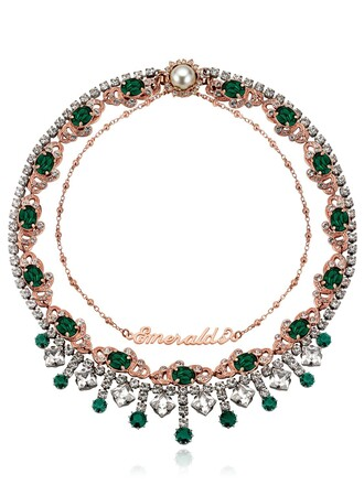 necklace pink green jewels