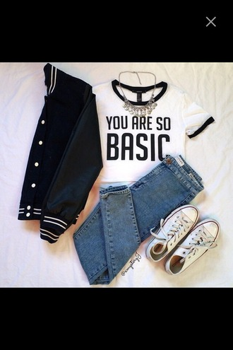 top college jacket converse basic top jeans crop tops necklace t-shirt jacket