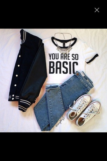 top college jacket converse basic top jeans crop tops necklace t-shirt jacket college