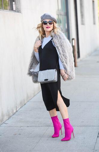 thehuntercollector blogger dress t-shirt shirt shoes bag sunglasses jacket beret crossbody bag grey bag slip dress dress over t-shirt ankle boots fuzzy coat spring outfits