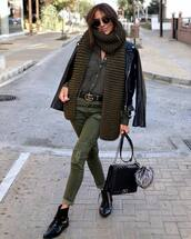 jeans,pants,army green,shirt,black leather jacket,patent shoes,ankle boots,black bag,knitted scarf,gucci belt