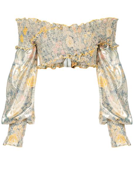 Alice McCall blouse women grey metallic top