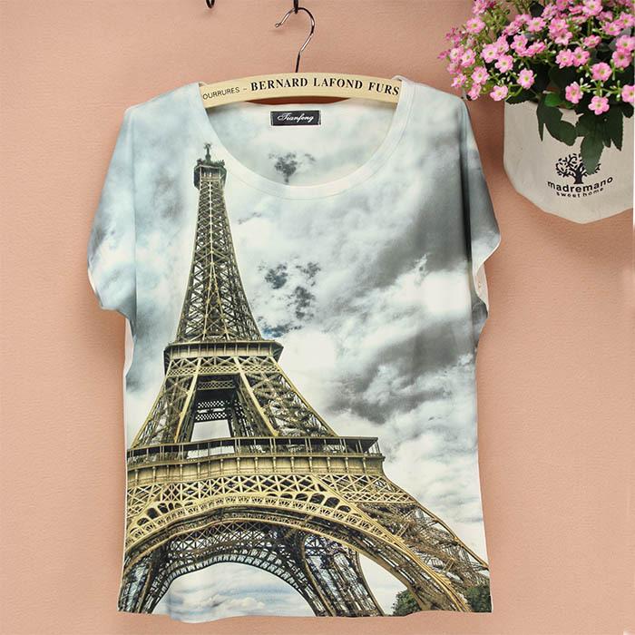 Meilleure vente 3d paris, tour effiel tshirt impression hauts femmes occasionnels tees, nouvelle robe d'été dans de sur aliexpress.com